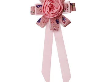 Pink Rose Long Bow Tie Brooch