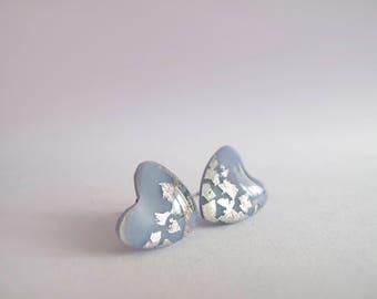 Blue Gray Silver Stud Earrings - Hypoallergenic Titanium Posts