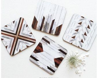 Coaster Set of 4 Faux Wood Print, Chevron Cork Coasters, Geometric Coaster Set, Pattern Coasters T69