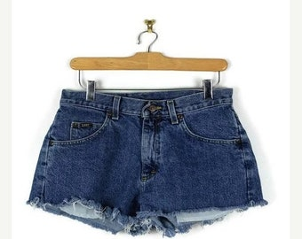 ON SALE Vintage Lee Blue Denim Cut Off Shorts from 90's/W28