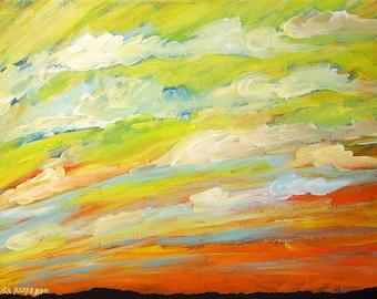 sky painting, Yellow Sky, original acrylic painting on canvas, cloud painting, landscape painting, original art, Southwest art, desert