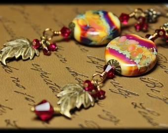 Raspberry Vine... Handmade Jewelry Earrings Beaded Leaf Leaves Lampwork Crystal Long Purple Lavender Sage Green Gold Antique Brass Dangle