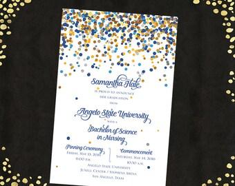 College Graduation Invitations Announcements Bachelor's Degree Confetti Announcements Graduation Announcements Qty. 25