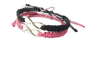 No Longer Offering Christmas Delivery Infinity Couples bracelets Pink Black Hemp READY TO SHIP, Christmas Gift, Gift for her