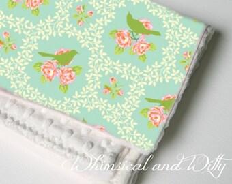 Spring Mockingbird Baby Blanket - Aqua, Pink, Green Mockingbird - Toddler Blanket - Minky Backed