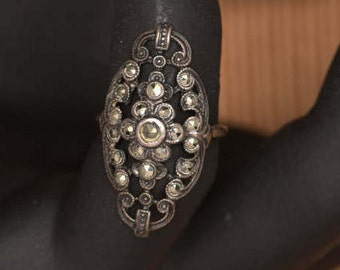 Antique Sterling Ring, Victorian Marcasites, Small Size Ring