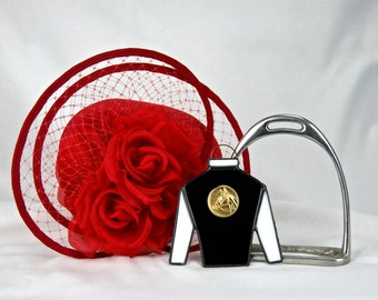 Stained Glass Jockey Silk Ornament or Suncatcher