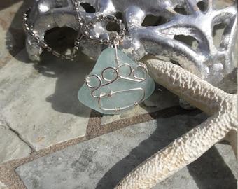 Paw Print Aqua Blue Sea Glass Silver Necklace Pendant