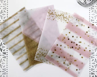 Set of 4 Patterned Vellum Dashboards for Traveler's Notebook or Ringbound Planner - Pink Chic