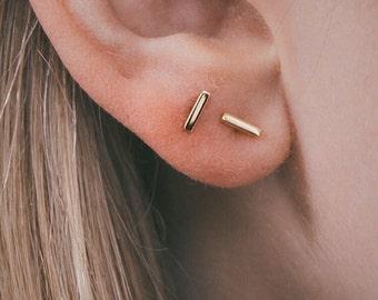 Yellow Gold Studs, Gold Studs, Bar Studs, Tiny Gold Studs, Tiny Gold Studs, Yellow Gold Earrings, Simple Studs, Simple Earrings, Line Studs