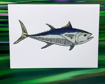 "Bluefin Greeting Cards - 6 Pack - 4"" X 6"" size - Letter Press - on Heidelberg - Strathmore Paper - Envelopes - by The Fish Mill"