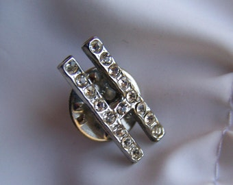 """Vintage 50's """"RHINESTONE LETTER H"""" Tie Tack - Silver Toned"""