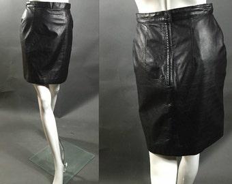 80's Vintage Black Leather IOU LEATHER Mini Skirt S