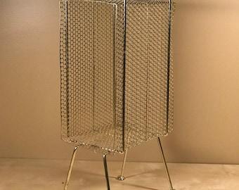 Vintage 1950s Mid-Century Brass Perforated Metal Side Table/Magazine Rack