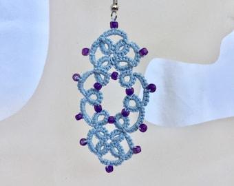 Blue Beaded Lace Chandelier Earrings/Light Blue with Purple Beads Earrings/Tatted Lace Earrings