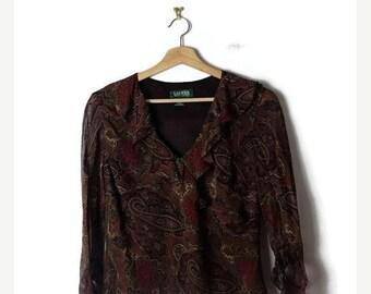 ON SALE Ralph Lauren Dark Brown Paisley printed  Long sleeve Blouse