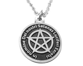 Black MASS Occult Satanic Lucifer Seal & Sign of Satan Pendant