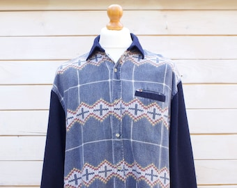 Vintage Long Sleeved Patterned Shirt Size - Extra Large
