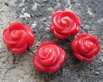 10pcs Red Coral Hand Carved Flower Cabochon Beads 12mm- for Earrings
