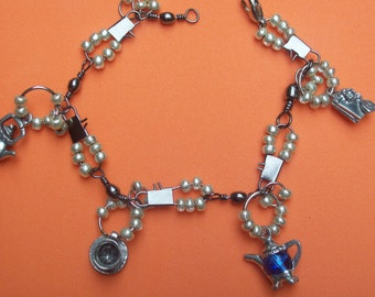 Charm Bracelet Pearl and Silvertoned Tea Party Themed Charm Bracelet Gift for Her