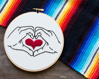Embroidery Hoop Art - Heart in Your Hands - Hand Heart - Embroidery Art in 6 Inch Hoop - Fiber Art - Love - Home Decor