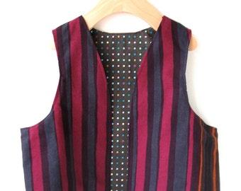 Marimekko Kid's Vest Size 7/8 in Autumn Stripe- Reversible