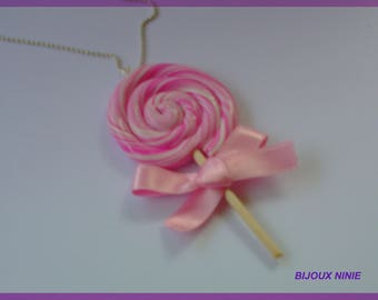 Delicious fimo necklace lollipop rolled rose