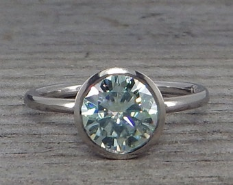 Green Moissanite Ring in Recycled 950 Palladium with Peekaboo Bezel - Colored Diamond Alternative - Engagement or Wedding Ring - size 6.25