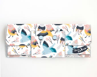 Vinyl Long Wallet - Blossom/ birds, vegan, pretty, large wallet, clutch, card case, vinyl wallet, handmade, long, change, floral, gift
