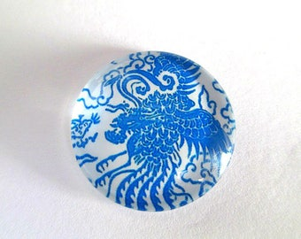 1 blue 25mm (7) flower printed glass cabochons
