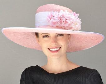 Derby Hat, Ascot Hat, Wedding Hat. Ladies Pink Hat, Wide Brim Hat, Occasion Hat, Formal Hat
