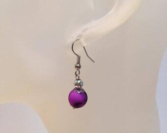 Neon purple bead earrings