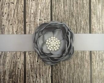 Grey wedding sash, floral wedding sash, all white sash, wedding belt, simple wedding sash, white sash