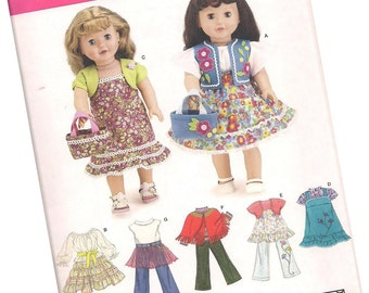 SIMPLICITY PATTERN 3936 doll clothes patterns 18 inch dolls, jeans and skirts, new and uncut