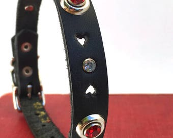 Bleeding Heart Black Leather Dog Collar with Rhinestones, Size S, to fit a 10-13in Neck, Small Dog, EcoFriendly, OOAK