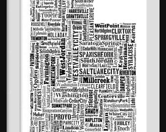 Utah Typography Map Poster Print