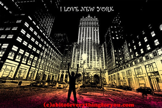 I Love New York City At Night original cityscape printable art print buildings architecture NYC digital download images living room wall art