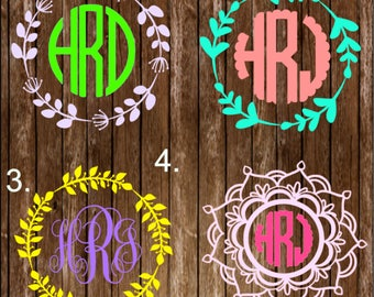 Vine Frame Monogram Decal / Frame Monogram Decal / Frame Sticker / Monogram Decal / Monogram Sticker / Car Sticker / Car monogram Sticker