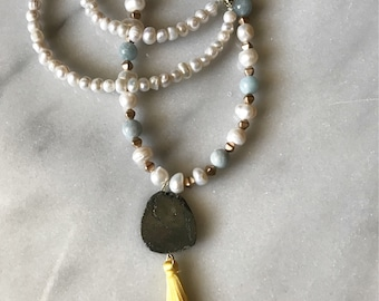 Freshwater pearl, pyrite, yellow tassel necklace