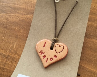 I love Wales handmade ceramic necklace made in Wales