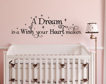 Cinderella Wall Decal Girl- A Dream Is A Wish Your Heart Makes Cinderella Quotes- Fairy Wall Decals For Girls Bedroom Nursery Kids Decor 048