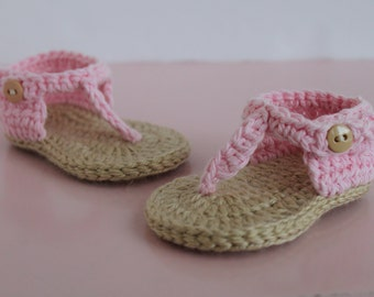 Pink Crocheted Baby Sandals, Pink Sandals, Baby Girl Sandals, 3-6 Month Sandals