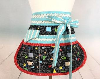 Math Teacher Half Vendor/Utility Sassy Apron, Womens Regular and Plus Sizes, 6/8 Pockets, great for Teachers, Gardening, Crafts