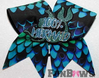 Unique and Fabulous 100% Mermaid Allstar Cheer bow with 3-D by FunBows !