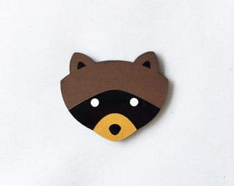 Acrylic laser cut camping khaki scouts raccoon brooch hand painted inspired by the charming film Moonrise Kingdom Wes Anderson