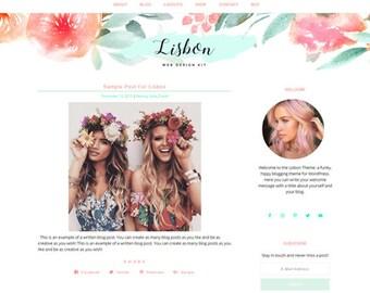 Responsive WordPress Theme   Lisbon Hippie Feminine Blog Design   WordPress Template   Genesis Child Theme
