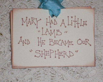 Easter Gift Tags - Mary Had A Little Lamb And He Became Our Shepherd - Set of Six -  Christmas