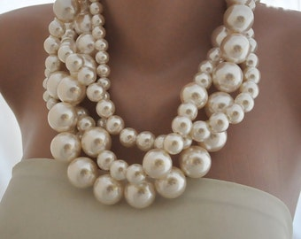 Huge Pearl Necklace, Bold Bridal Pearl Necklace, Ivory Pearl Necklace, Necklace for Brides, Bridesmaids,Bold Statement,