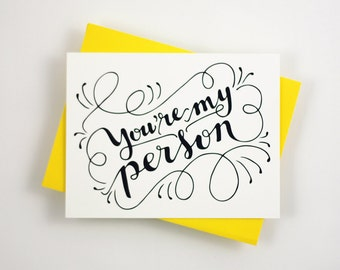 You are my person - one card with a yellow envelope
