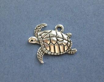 10 Turtle Charms - Turtle Pendants - Sea Turtle- Ocean Charm - Animal Charm - Antique Silver - 21mm x 17mm  -- (No.88-10256)